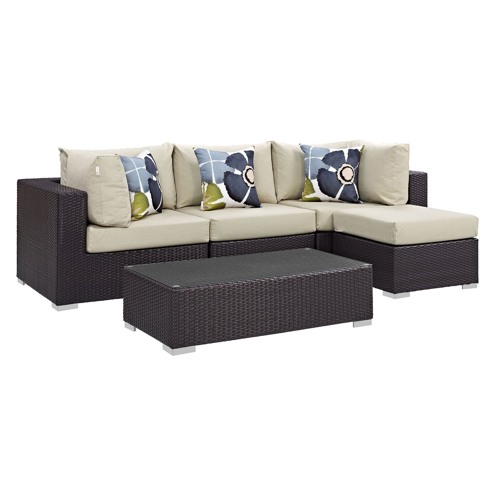 Widely Used Tripp Sofas With Cushions Within Modway Convene 5 Piece Outdoor Patio Chaise Sectional Set (View 9 of 25)