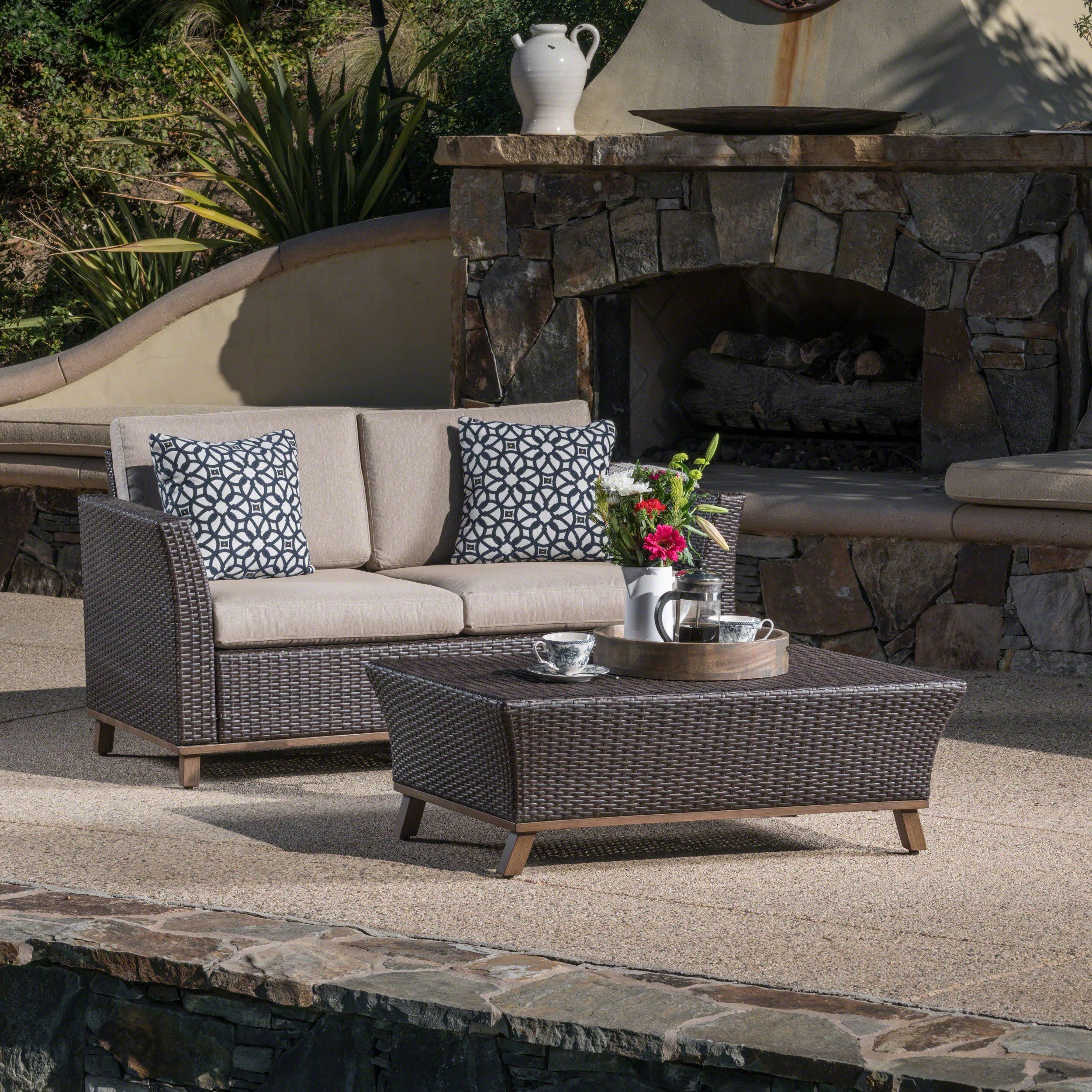 Woodland Outdoor Aluminum Framed Mixed Brown Wicker Loveseat With Regard To Newest Hagler Outdoor Loveseats With Cushions (View 16 of 25)