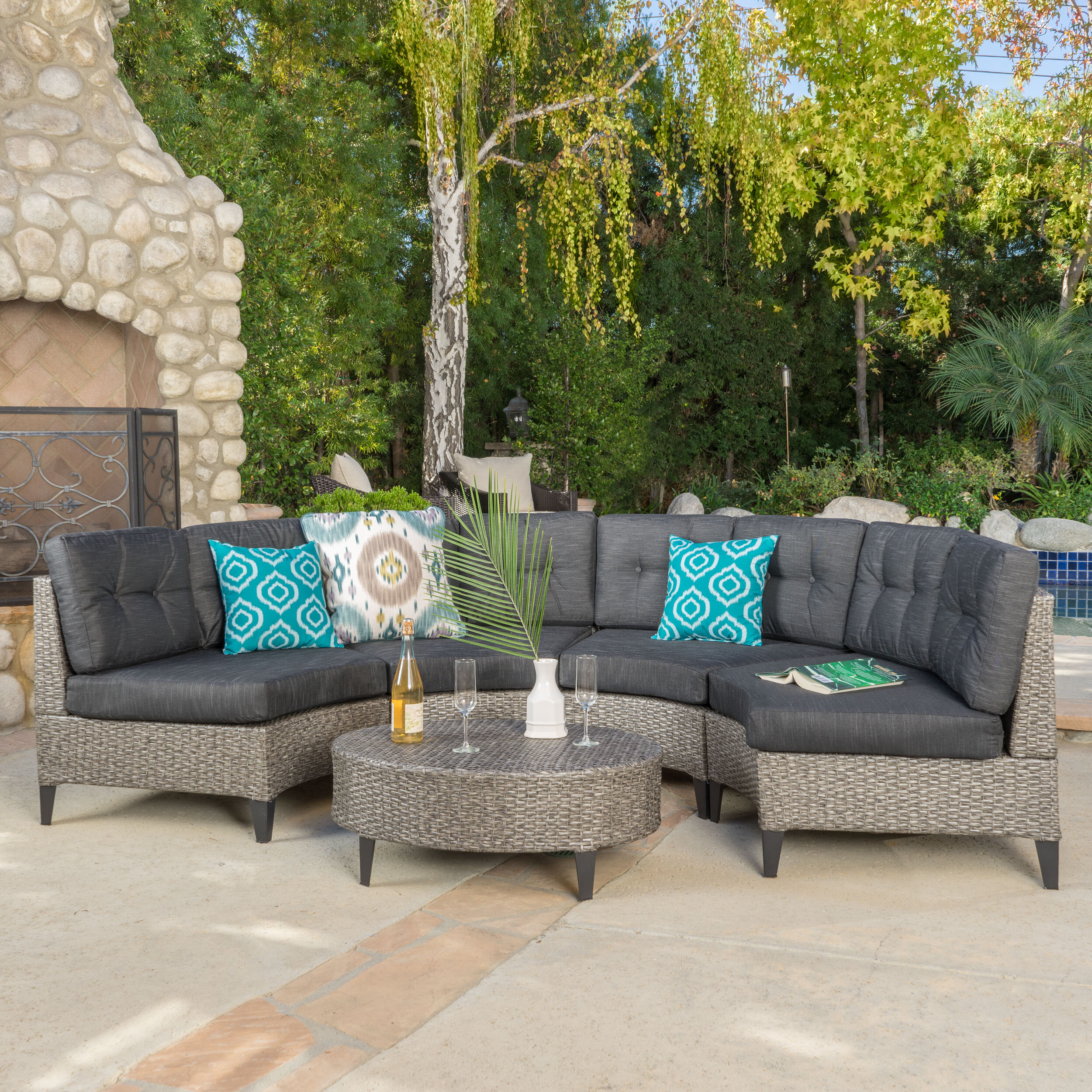 Yulganna 5 Piece Rattan Sectional Seating Group With Cushions In Best And Newest Menifee Patio Sofas With Cushions (View 17 of 25)