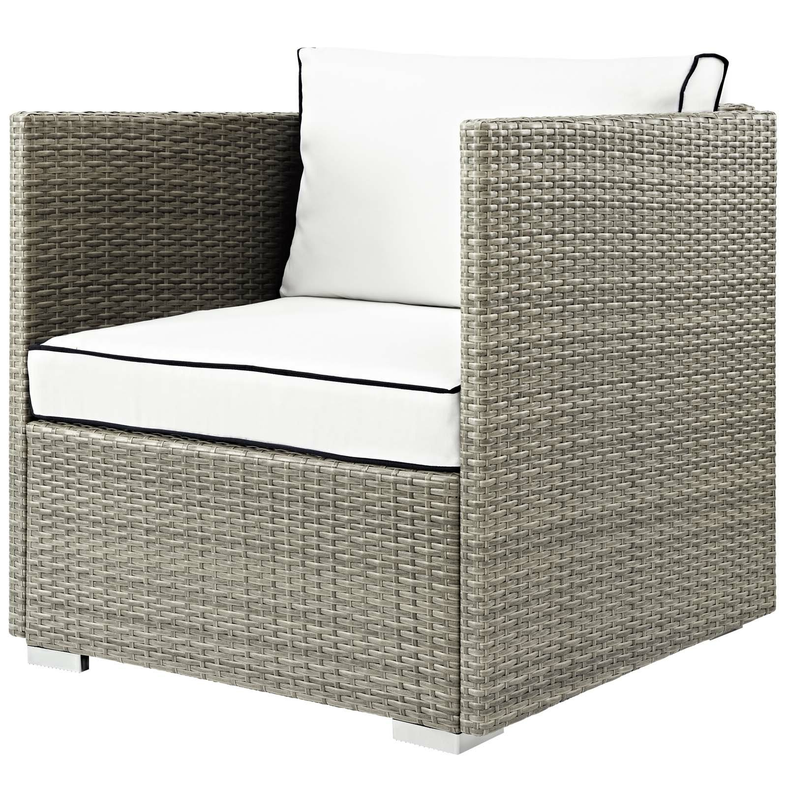 Zeman Ultra Comfortable Upholstered Anodized Aluminum Loveseats With Cushion Throughout Well Liked Heinrich Outdoor Patio Chair With Cushion (View 21 of 25)
