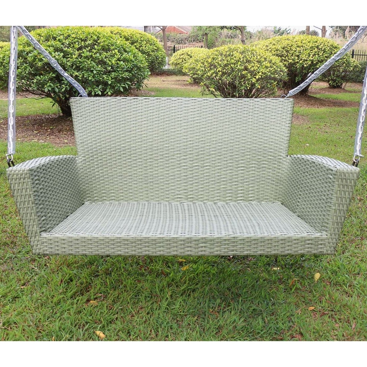 1 Person Antique Black Iron Outdoor Swings Inside Popular Kingston Contemporary Resin Wicker Porch Swing (View 15 of 25)