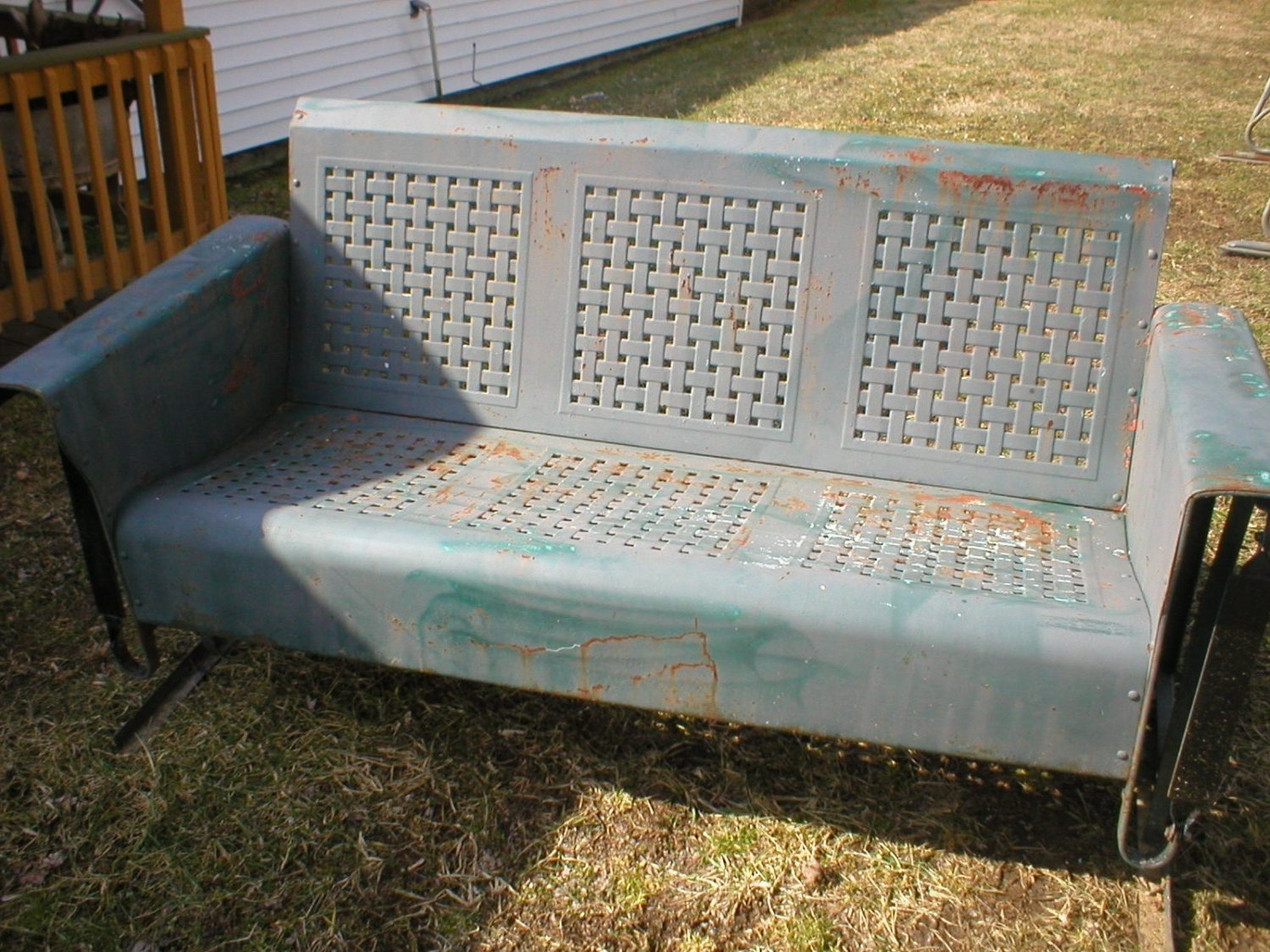 1 Person Antique Black Steel Outdoor Gliders Inside 2020 History Of Old Metal Porch Glider — Randolph Indoor And (View 22 of 25)