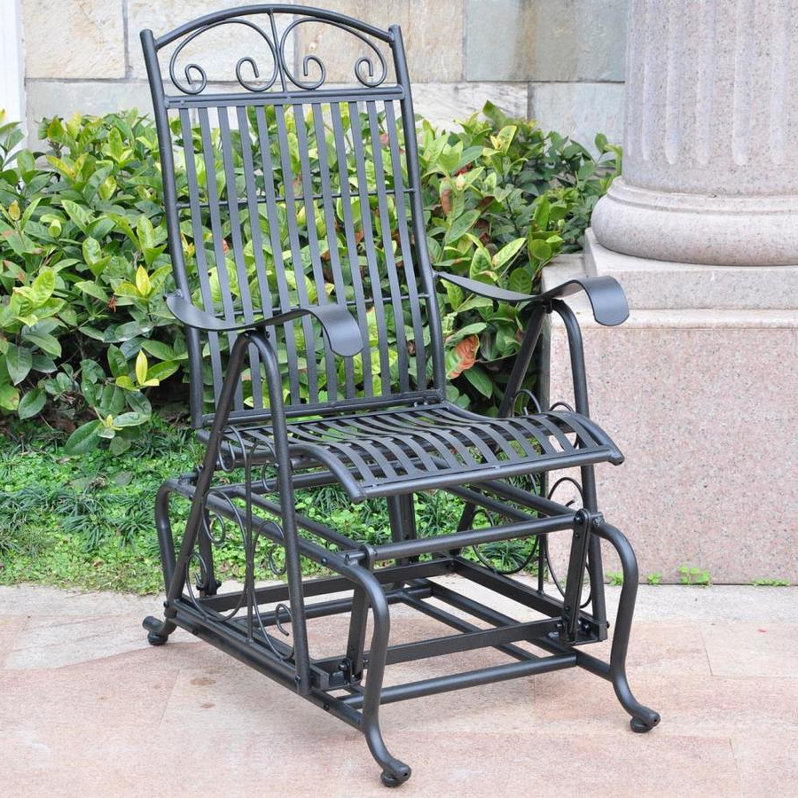 Featured Photo of 1 Person Antique Black Steel Outdoor Gliders