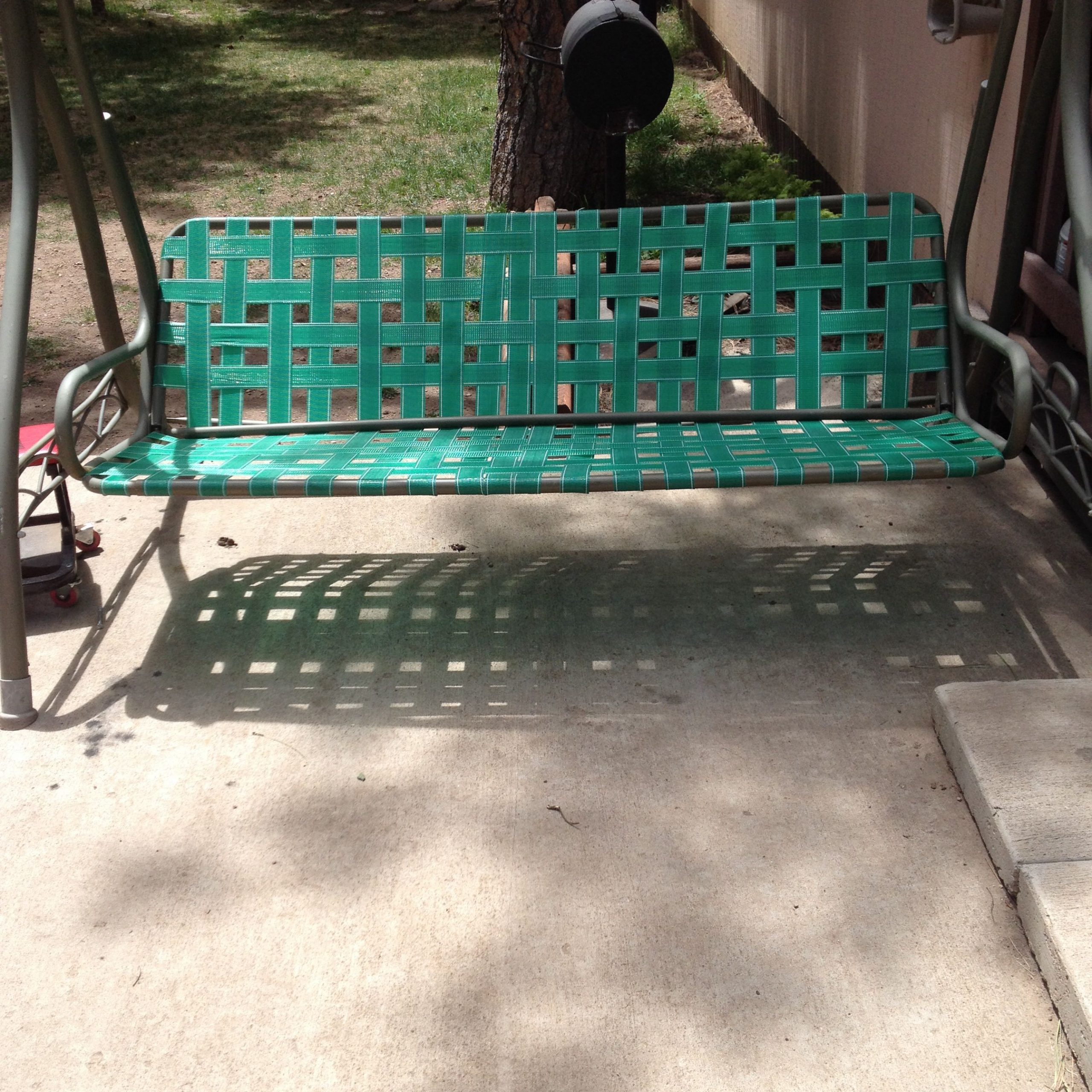 2 Person Antique Black Iron Outdoor Swings For 2019 Garden Swing. Replace Ripped Canvas With Lawn Furniture Re (Gallery 19 of 25)