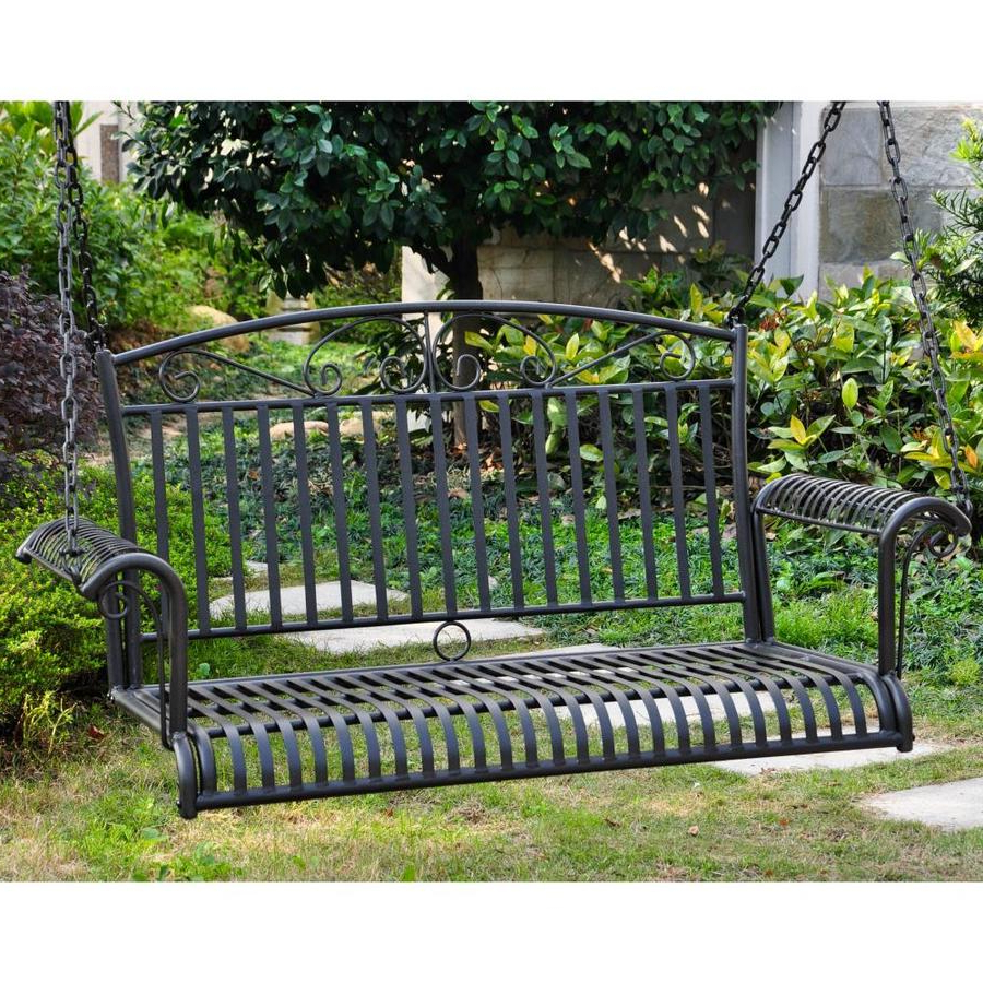 Featured Photo of 2 Person Antique Black Iron Outdoor Swings