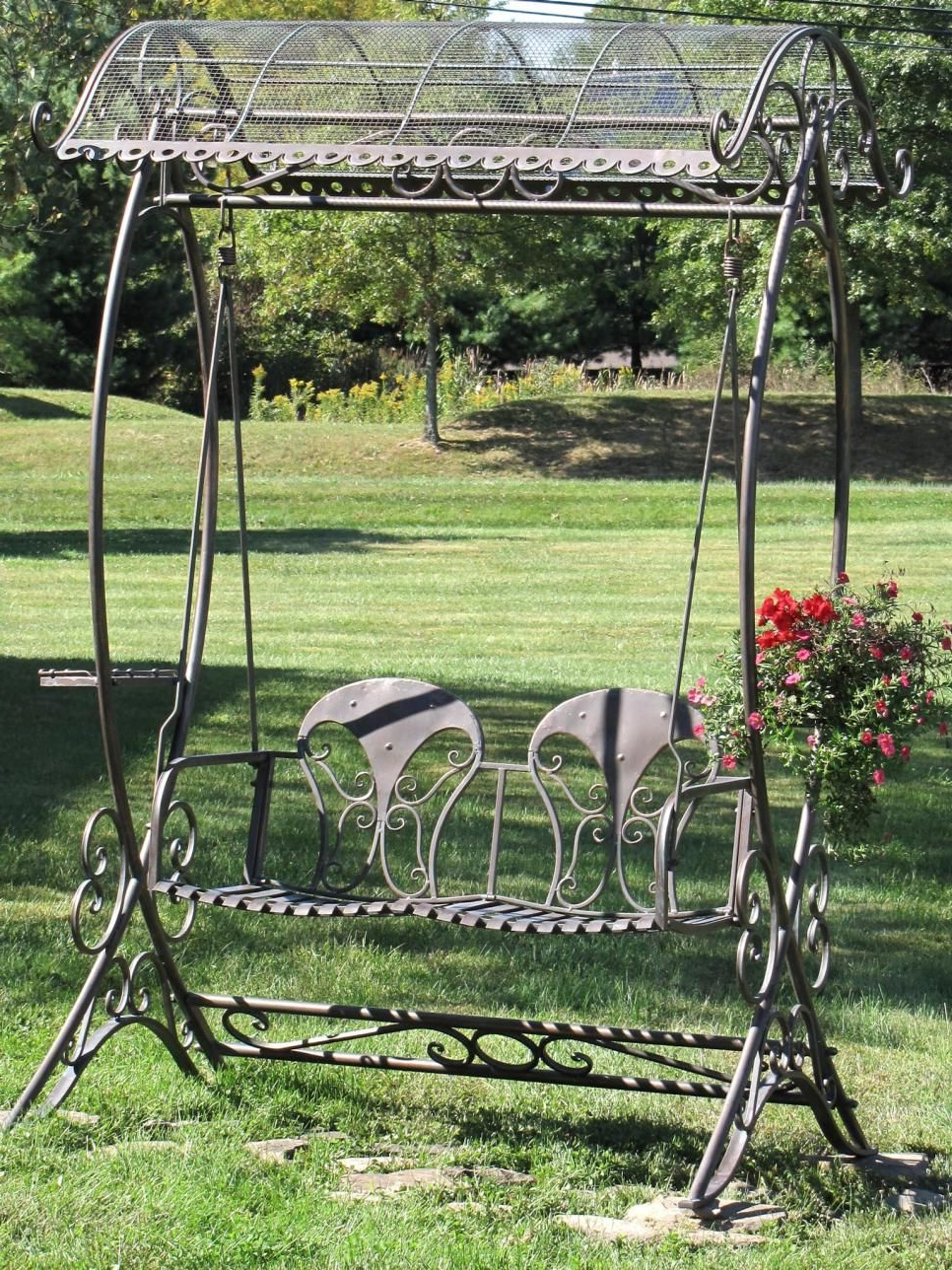 2 Person Antique Black Iron Outdoor Swings Intended For Recent Garden Swing Design Ideas (View 13 of 25)