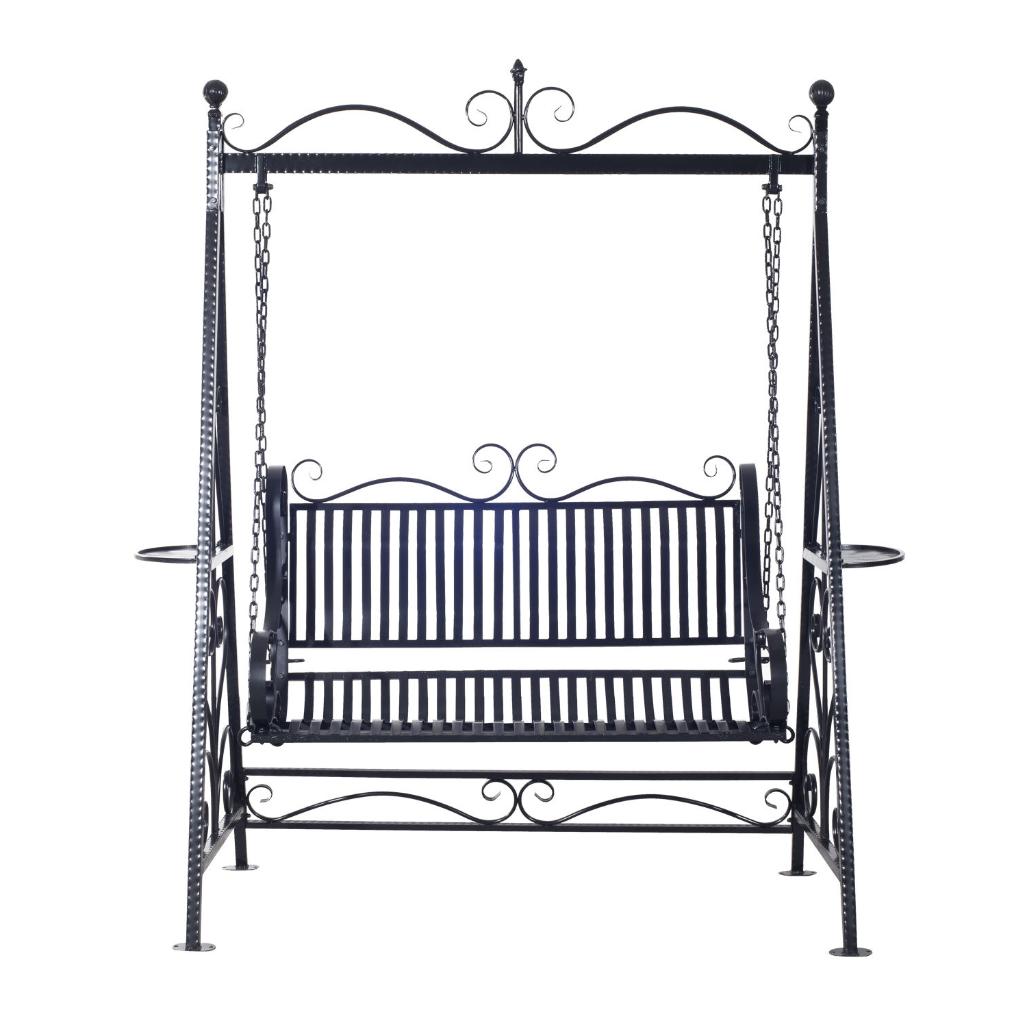 2 Person Antique Black Iron Outdoor Swings Regarding Well Known Outsunny Cast Iron Swing Chair (View 16 of 25)