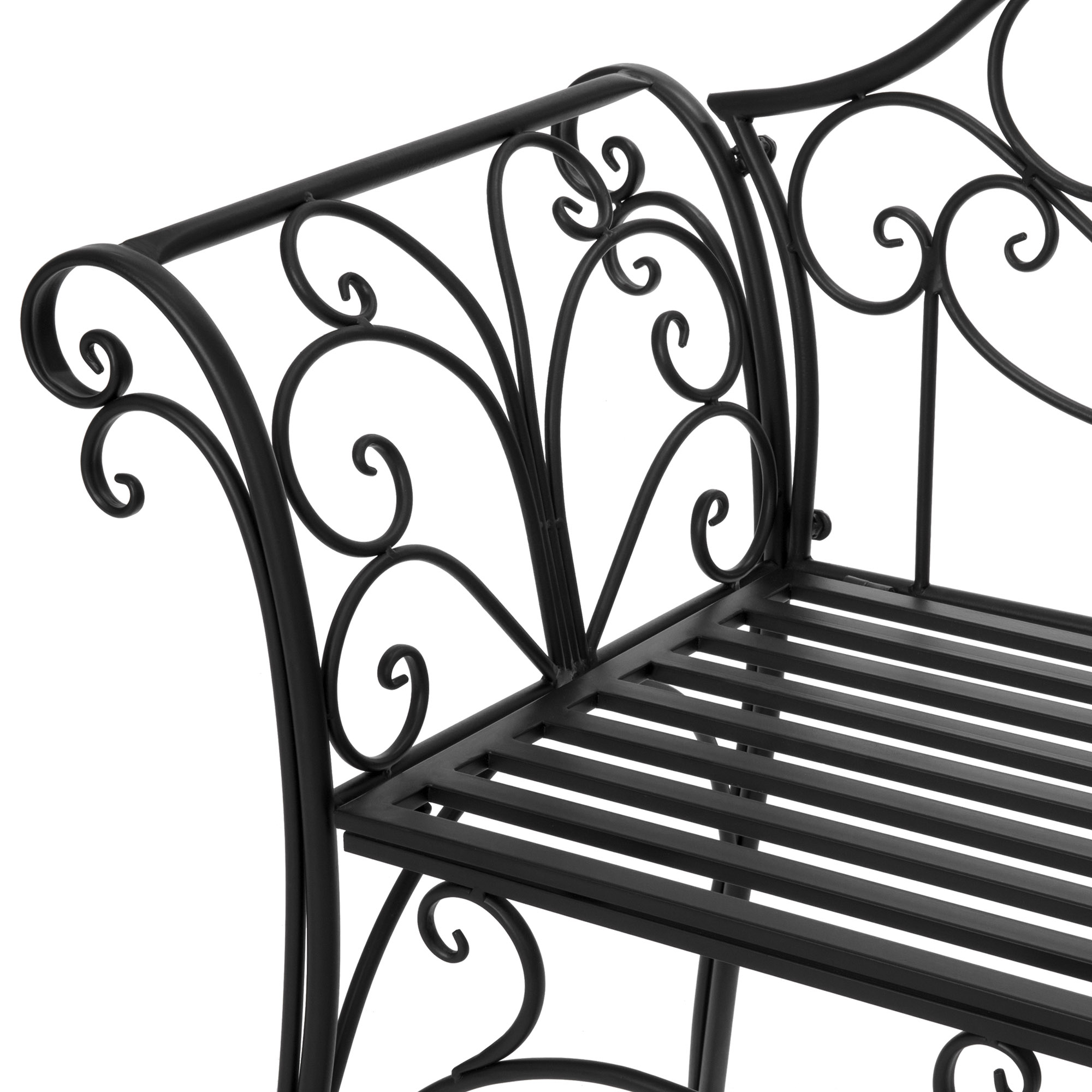 2 Person Black Steel Outdoor Swings For Well Known Swing Chair 2 Person Garden Bench 52 Inch Decorative Scroll (View 3 of 25)