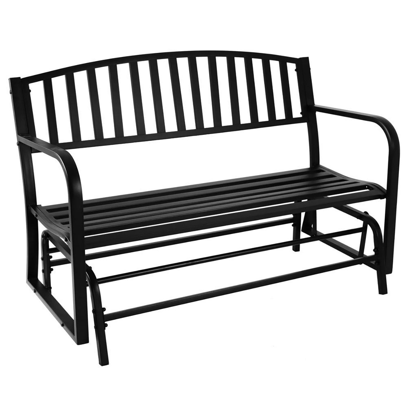 2 Person Black Steel Outdoor Swings Pertaining To Well Known Outsunny 50 L Steel Garden Bench Outdoor Patio 2 Person Park (View 7 of 25)