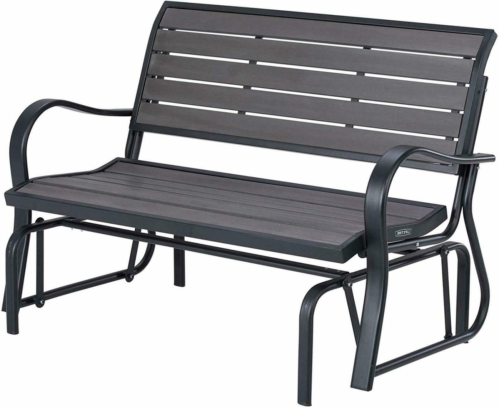 2 Person Black Wood Outdoor Swings Pertaining To Widely Used Patio Swing Loveseat Chair 2 People Seats Outdoor Glider Steel Frame Grey Bench (View 18 of 25)