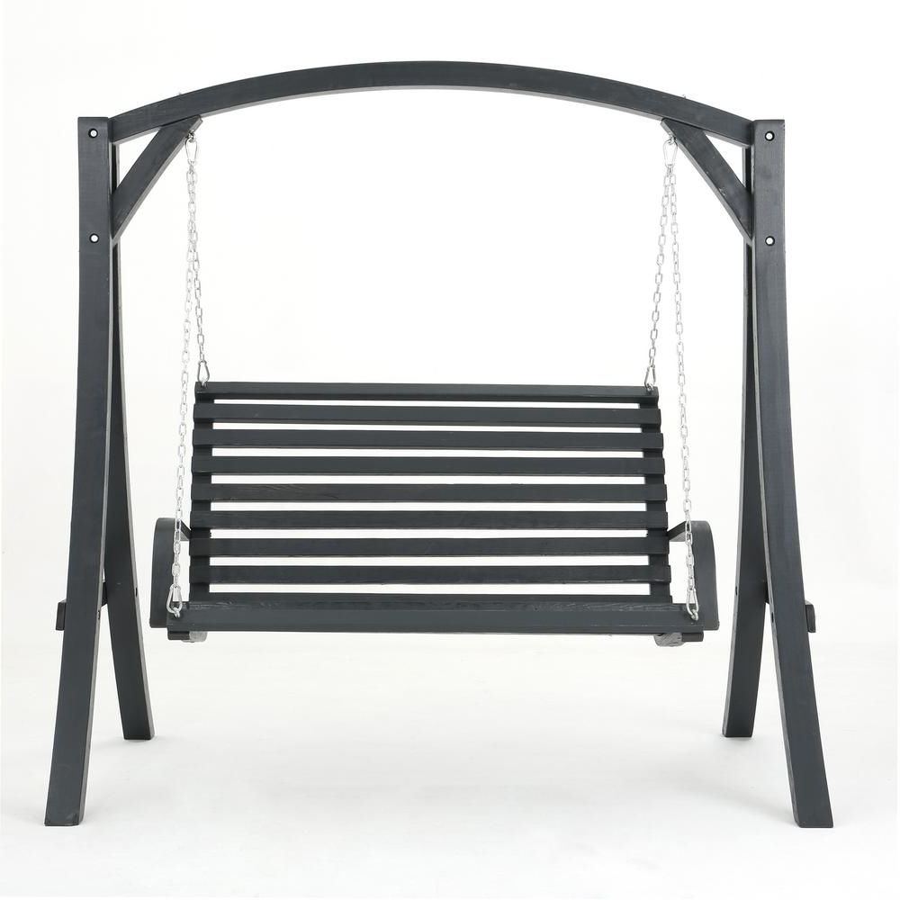 2 Person Black Wood Outdoor Swings Regarding Favorite Noble House 2 Person Gray Wood Patio Swing In (View 6 of 25)