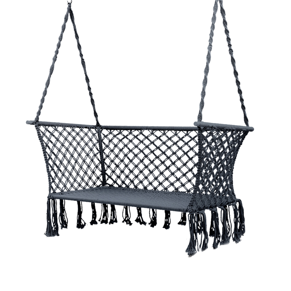 2 Person Gray Steel Outdoor Swings Pertaining To Best And Newest Gardeon Camping Hammock Chair Patio 2 Person Swing Hammocks Double Portable  Rope (View 3 of 25)