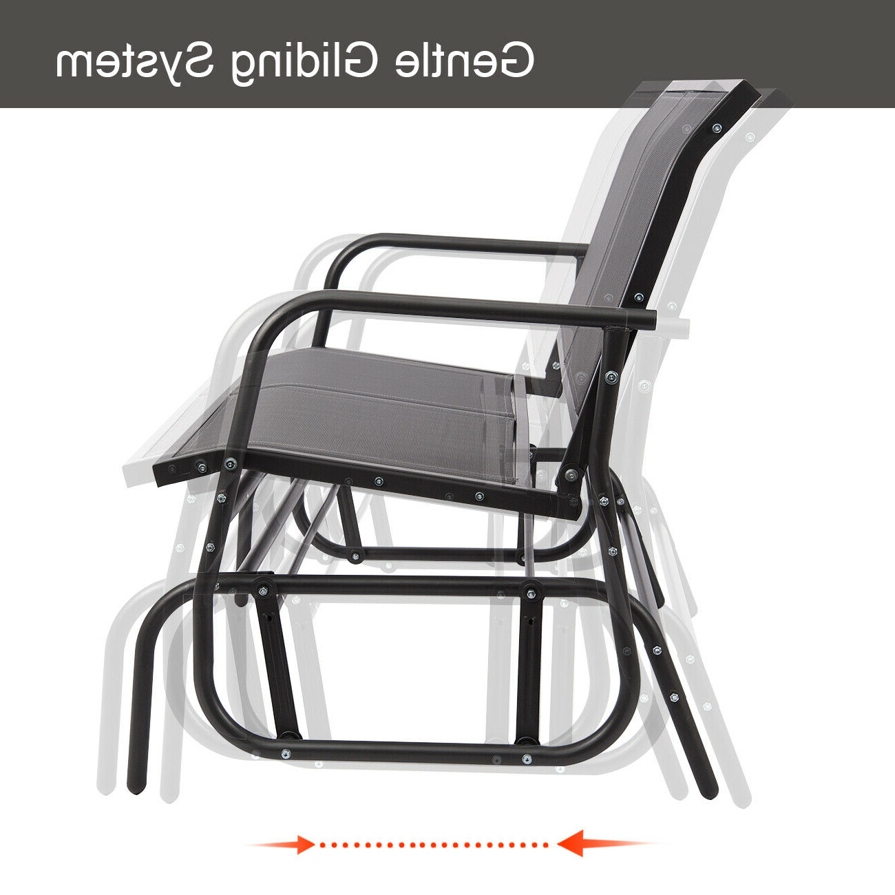 2 Person Gray Steel Outdoor Swings Throughout Newest Outdoor Swing Glider 2 Person Patio Rocking Chair Loveseat (View 4 of 25)