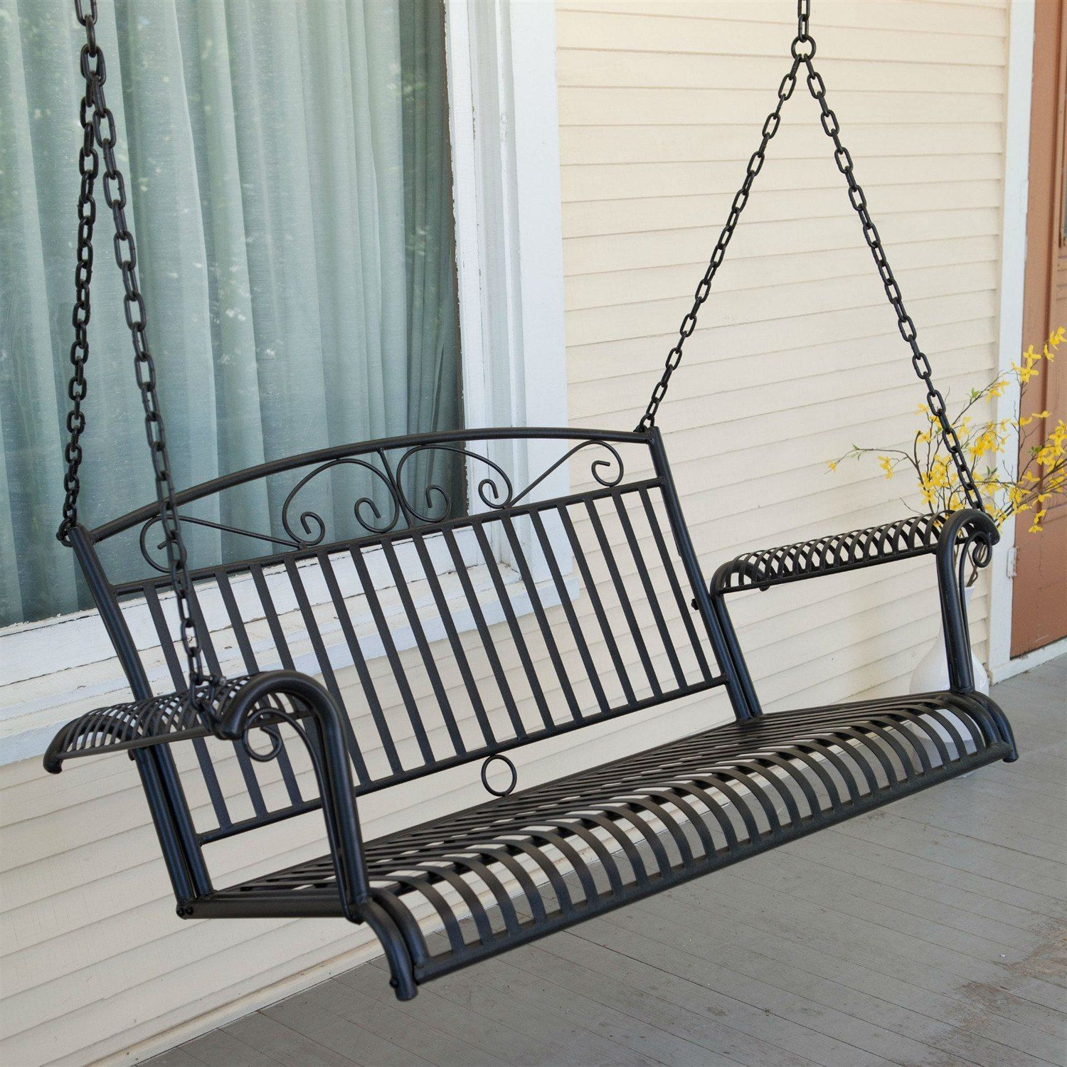 2 Person Hammered Bronze Iron Outdoor Swings For Famous Wrought Iron Outdoor Patio 4 Ft Porch Swing In Black (View 3 of 25)
