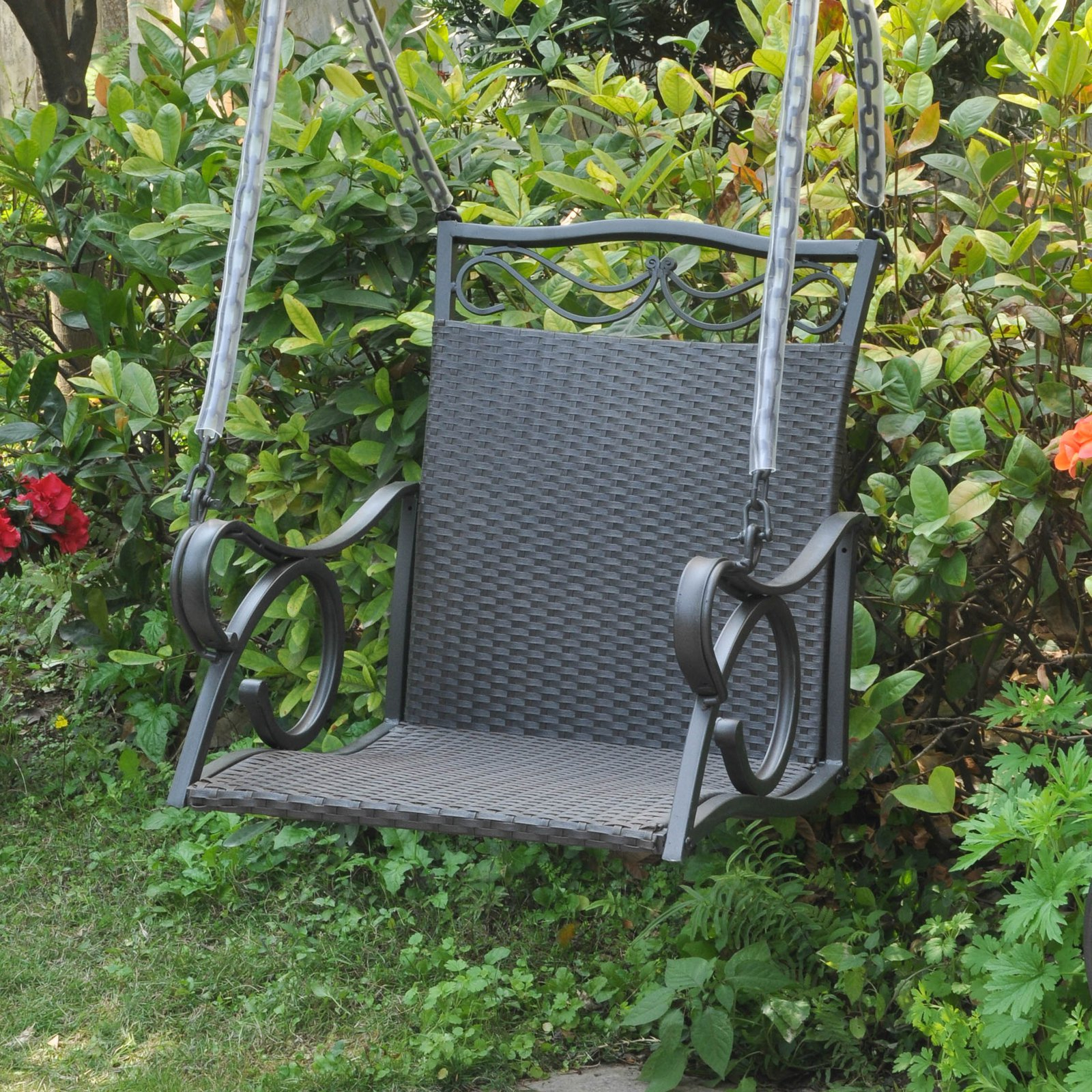 2 Person Hammered Bronze Iron Outdoor Swings With Latest International Caravan Resin Wicker Valencia Single Porch Swing Chair – Walmart (View 21 of 25)