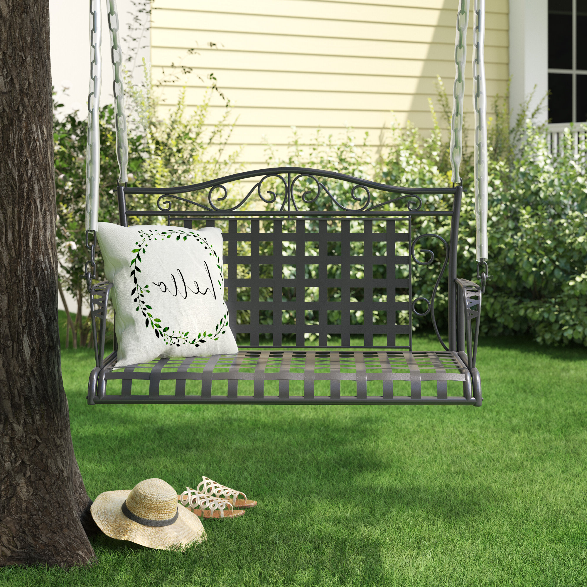 2 Person Hammered Bronze Iron Outdoor Swings With Well Known Fleur De Lis Living Saundra Iron Porch Swing (View 8 of 25)