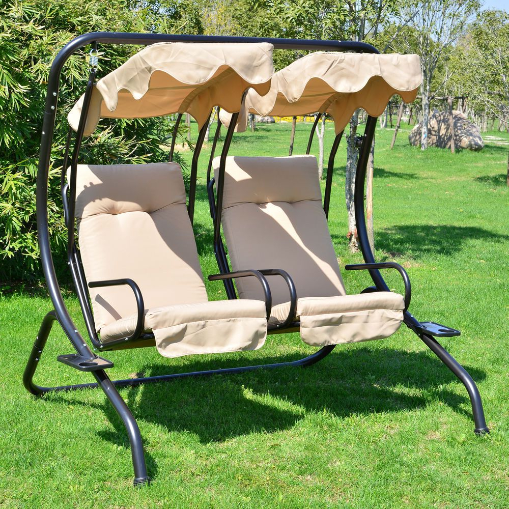 2 Person Hammock Porch Swing Patio Outdoor Hanging Loveseat Canopy Glider Swings Intended For Well Known 2 Person Outdoor Swing Seat Patio Hammock Furniture Bench (Gallery 3 of 25)