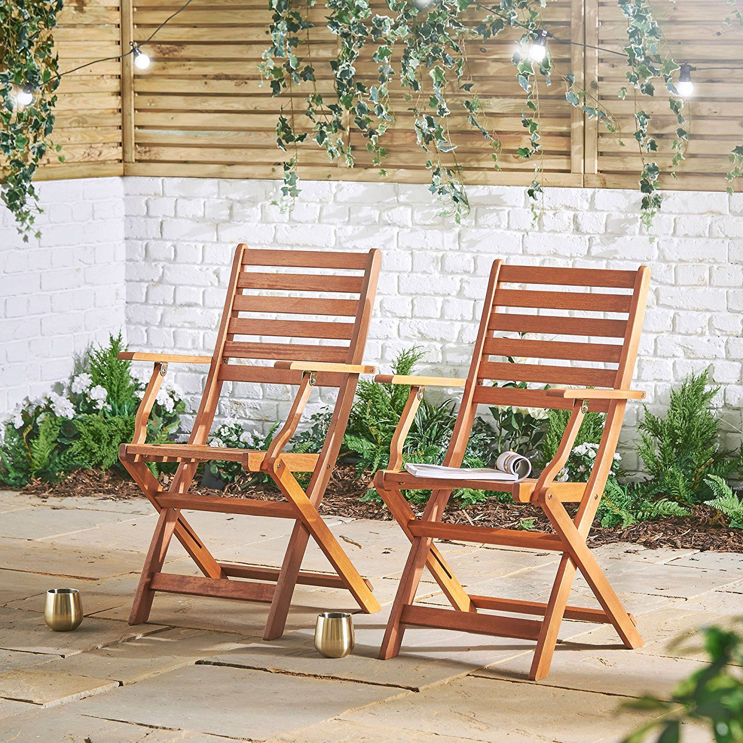 2 Person Light Teak Oil Wood Outdoor Swings For 2020 Vonhaus 2 Pack Wooden Folding Chairs – Set Of 2 Armchairs (View 1 of 25)
