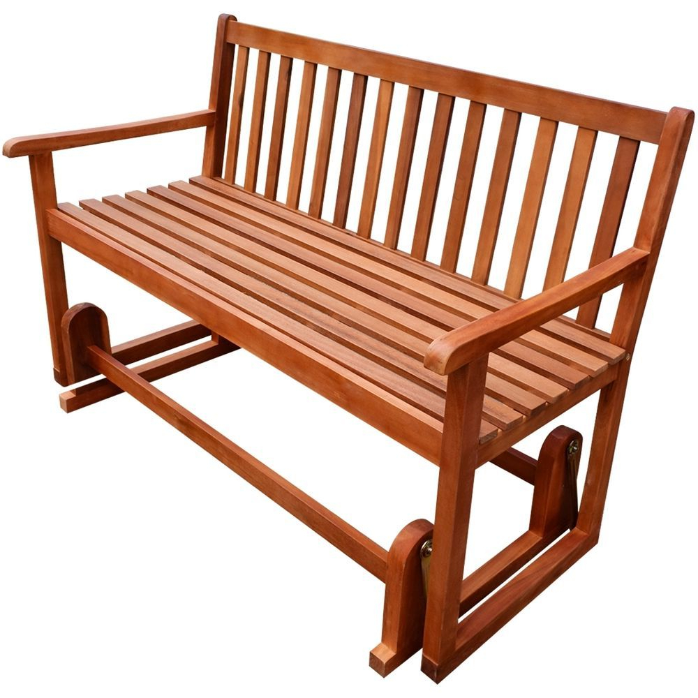 2 Person Light Teak Oil Wood Outdoor Swings In Most Recently Released Outdoor Glider Bench Patio Garden Seat Wooden Acacia Wood (View 4 of 25)