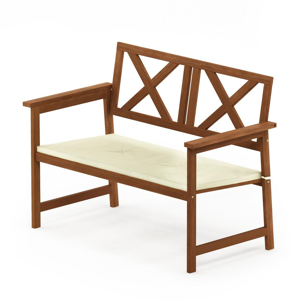 2 Person Light Teak Oil Wood Outdoor Swings With Regard To Well Known Details About Tioman Hardwood X Back Bench In Teak Oil With Cushion (View 17 of 25)