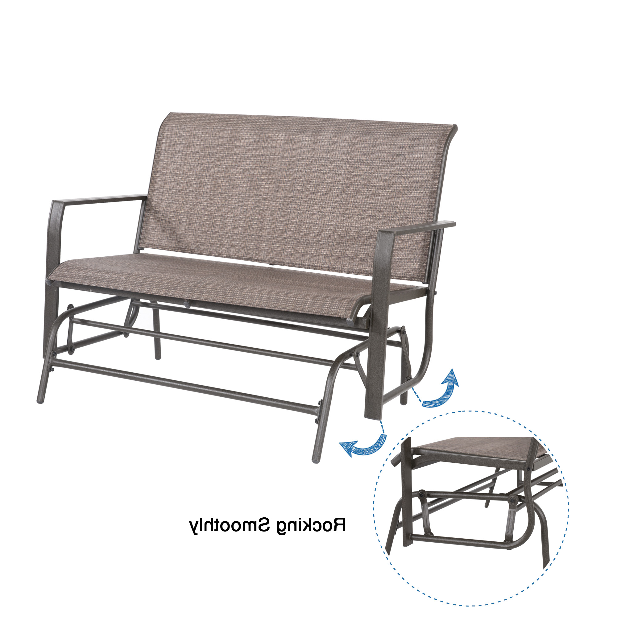2 Person Loveseat Chair Patio Porch Swings With Rocker Pertaining To Preferred Cloud Mountain Patio Glider Bench Outdoor 2 Person Swing (View 15 of 25)