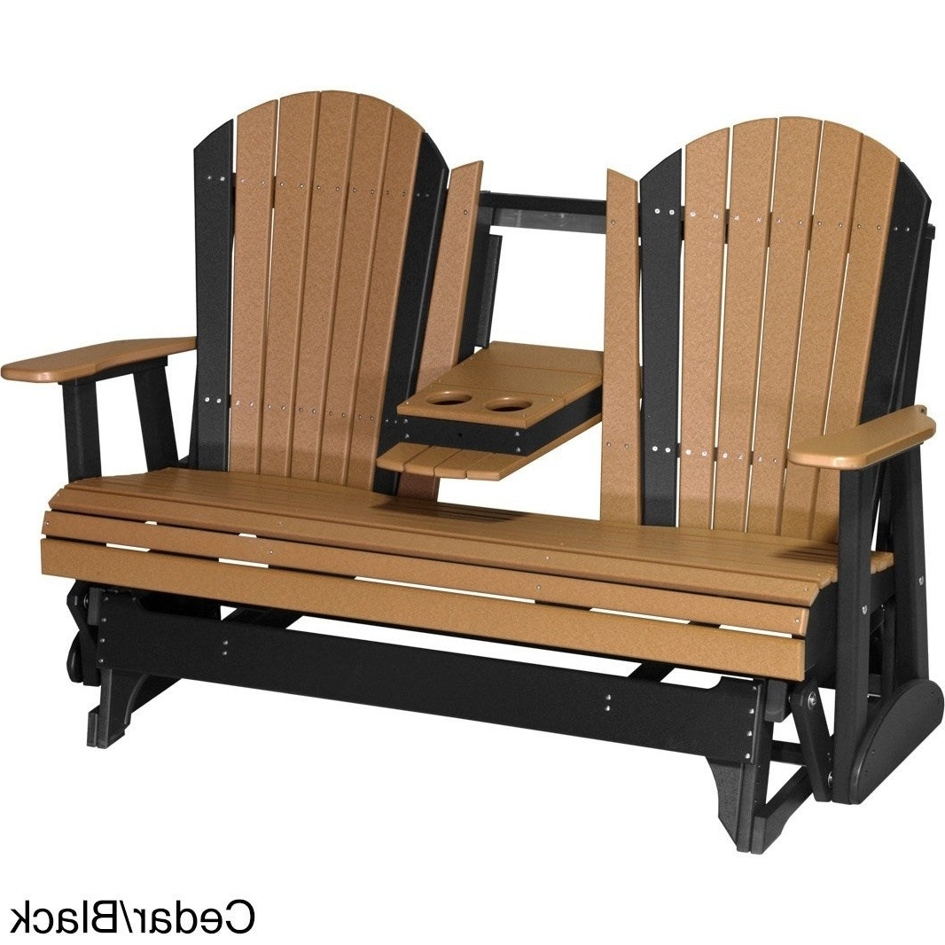 2 Person Natural Cedar Wood Outdoor Gliders In Favorite Outdoor 5' Adirondack Porch Glider Bench – Recycled Plastic (Gallery 25 of 25)