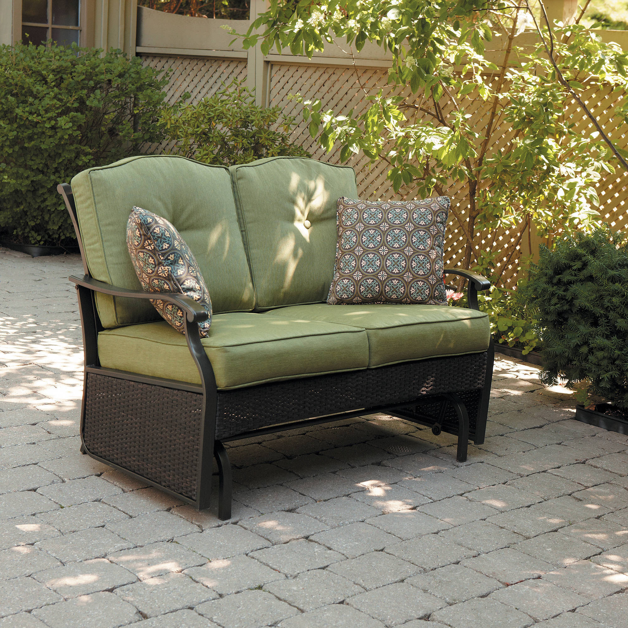 2 Person Natural Cedar Wood Outdoor Gliders Throughout 2020 Better Homes & Gardens Providence 2 Person Outdoor Glider Loveseat – Walmart (Gallery 6 of 25)