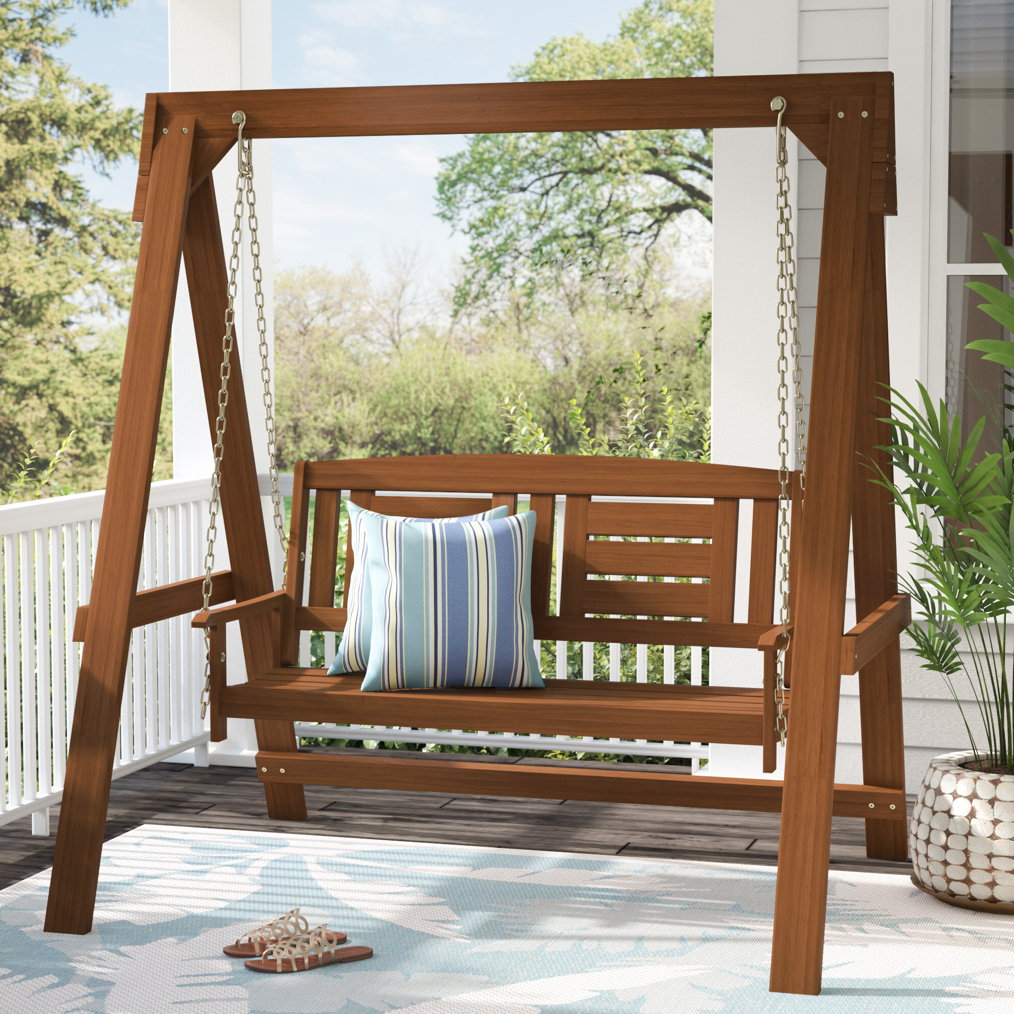2 Person Natural Cedar Wood Outdoor Swings In Trendy Arianna Hardwood Hanging Porch Swing With Stand (View 23 of 25)