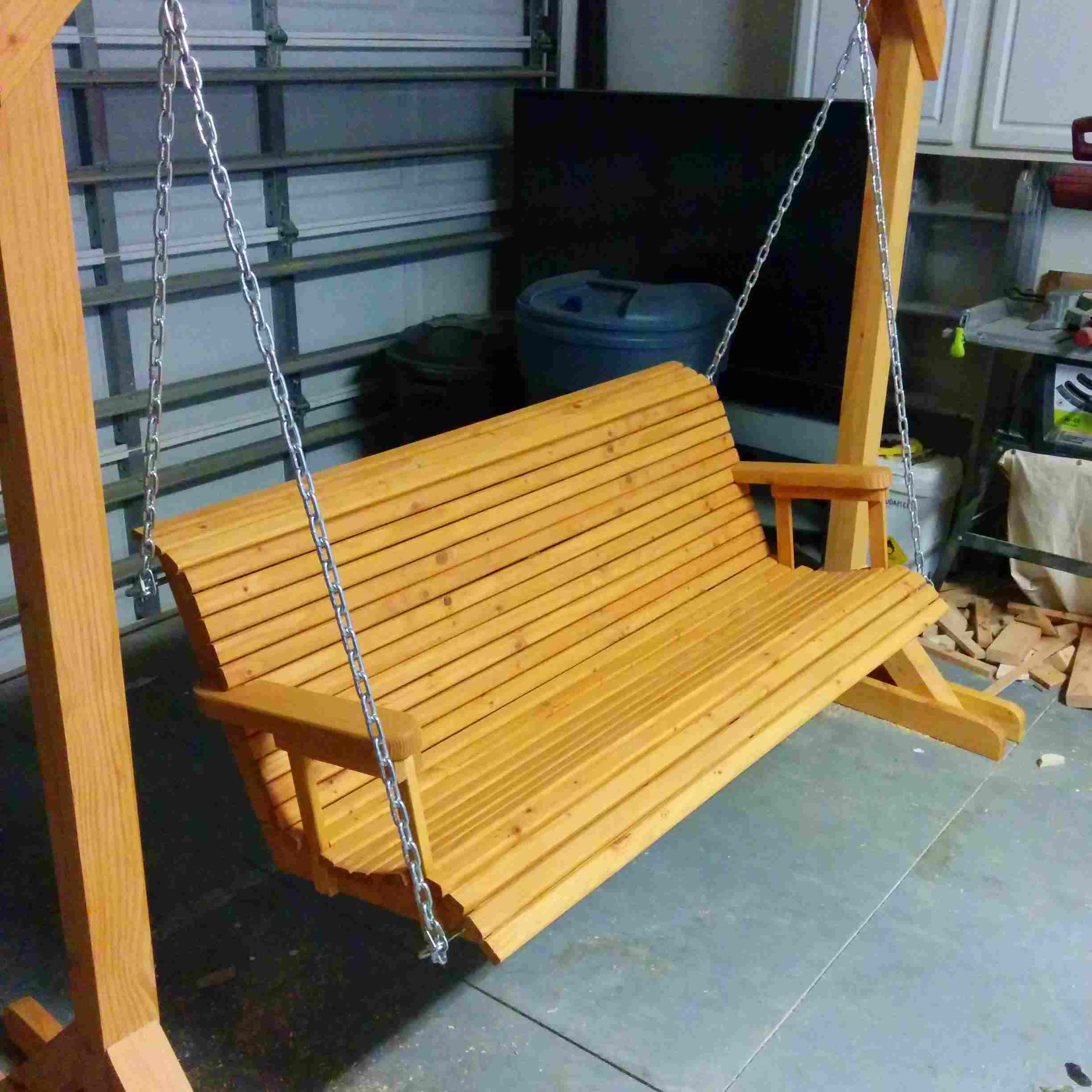 2 Person Natural Cedar Wood Outdoor Swings With Favorite 12 Free Porch Swing Plans To Build At Home (View 18 of 25)