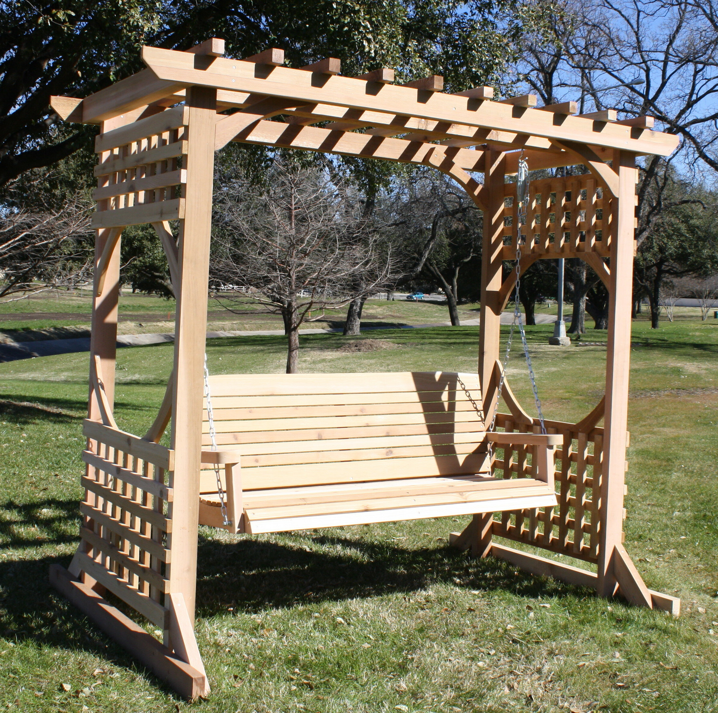 2 Person Natural Cedar Wood Outdoor Swings With Widely Used Cedar Colonial Style Arbour Swing Set – With 4 Foot Swing – Natural (View 8 of 25)