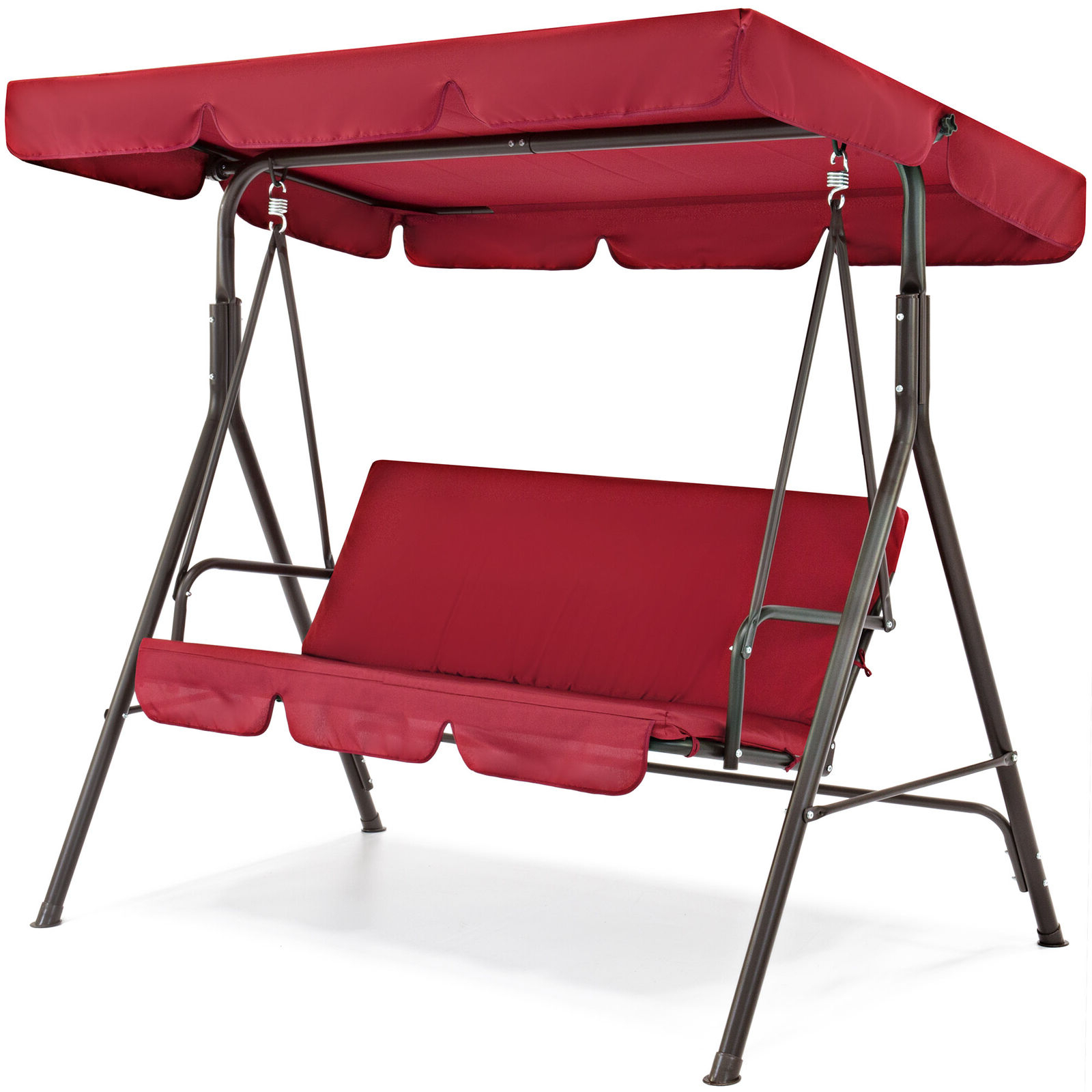 2 Person Outdoor Convertible Canopy Swing Gliders With Removable Cushions Beige Inside Popular Best Choice Products Outdoor 2 Person Patio Canopy Swing – Burgundy (View 4 of 25)