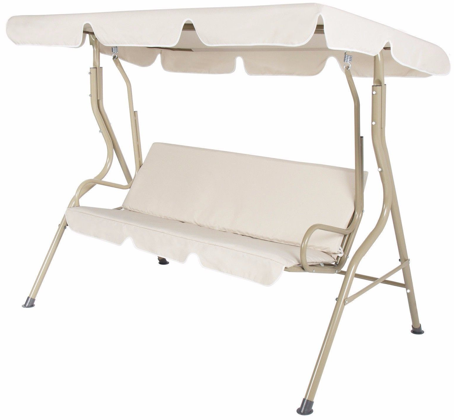 2 Person Outdoor Convertible Canopy Swing Gliders With Removable Cushions Beige Within Most Recent Outdoor 2 Person Canopy Swing Glider Hammock Patio Furniture (View 11 of 25)