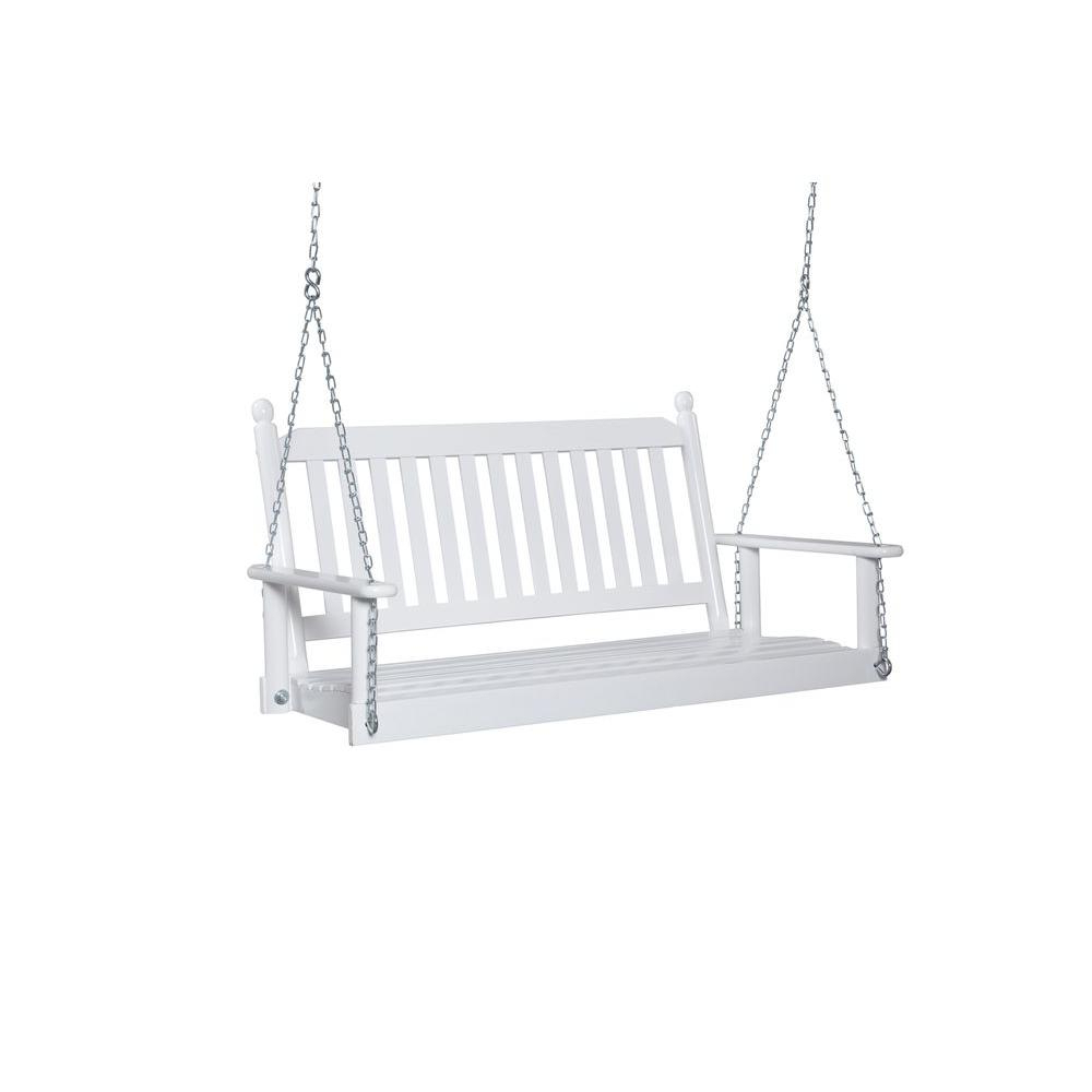 2 Person White Porch Swing Within Current 2 Person White Wood Outdoor Swings (View 7 of 25)