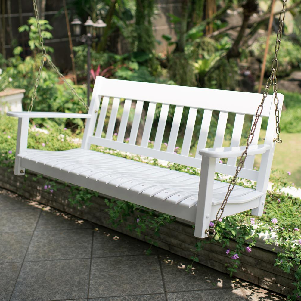 2 Person White Wood Outdoor Swings For Best And Newest Cambridge Casual Thames White Wood Porch Swing (View 3 of 25)