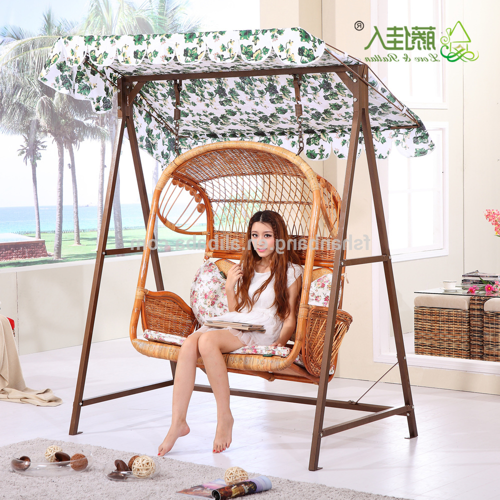 2 Person White Wood Outdoor Swings Inside Most Recently Released 2016 New Outdoor Garden Patio Wicker 2 Person Plastic Rattan Hanging Swing Chair With Canopy Cushion Magazine Holders Pockets – Buy Swing Chair, (View 14 of 25)