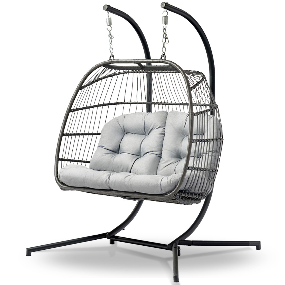 2019 2 Person Gray Steel Outdoor Swings With Gardeon Outdoor Furniture Hanging Swing Chair Egg Hammock Pod Wicker 2 Person Grey (Gallery 15 of 25)