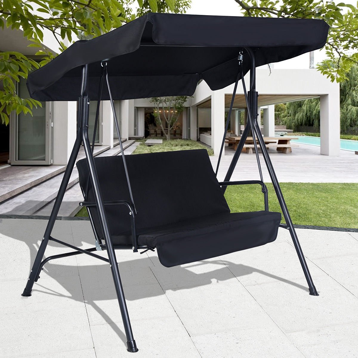 2019 Buy Swings Black Outdoor Patio Swing Canopy Awning Yard Pertaining To 2 Person Gray Steel Outdoor Swings (Gallery 1 of 25)
