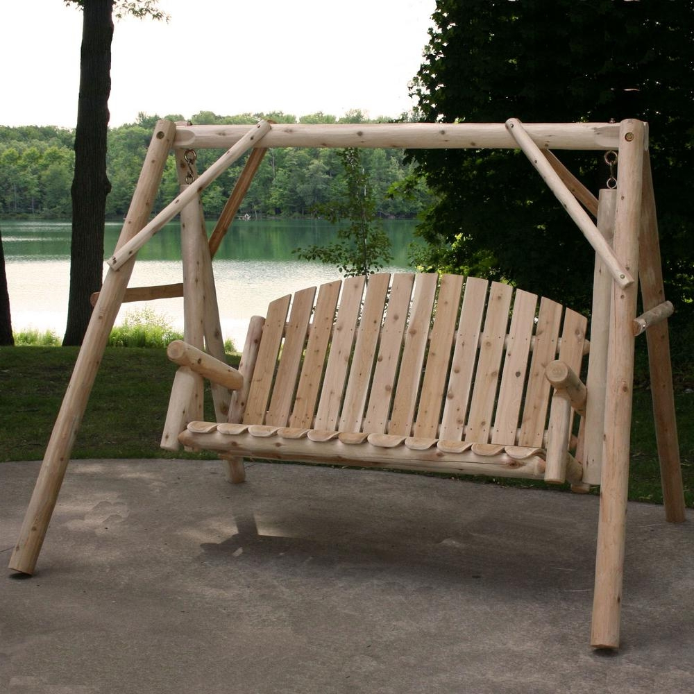 Featured Photo of 3 Person Natural Cedar Wood Outdoor Swings