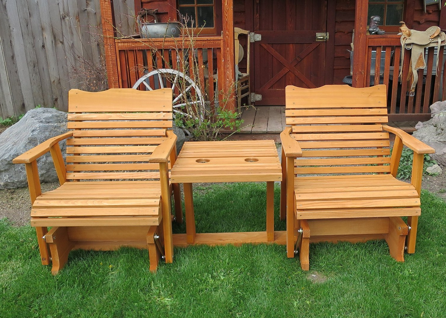 2019 Gliders For 2 Person Natural Cedar Wood Outdoor Gliders (View 3 of 25)
