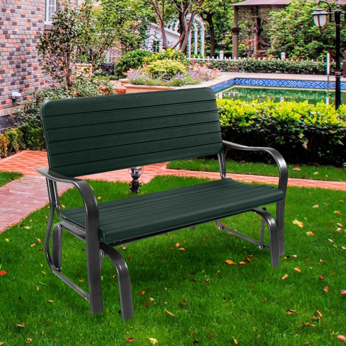 2019 Outdoor Patio Swing Porch Rocker Glider Benches Loveseat Garden Seat Steel Intended For Costway Outdoor Patio Swing Porch Rocker Glider Bench Loveseat Garden Seat  Steel (View 1 of 25)