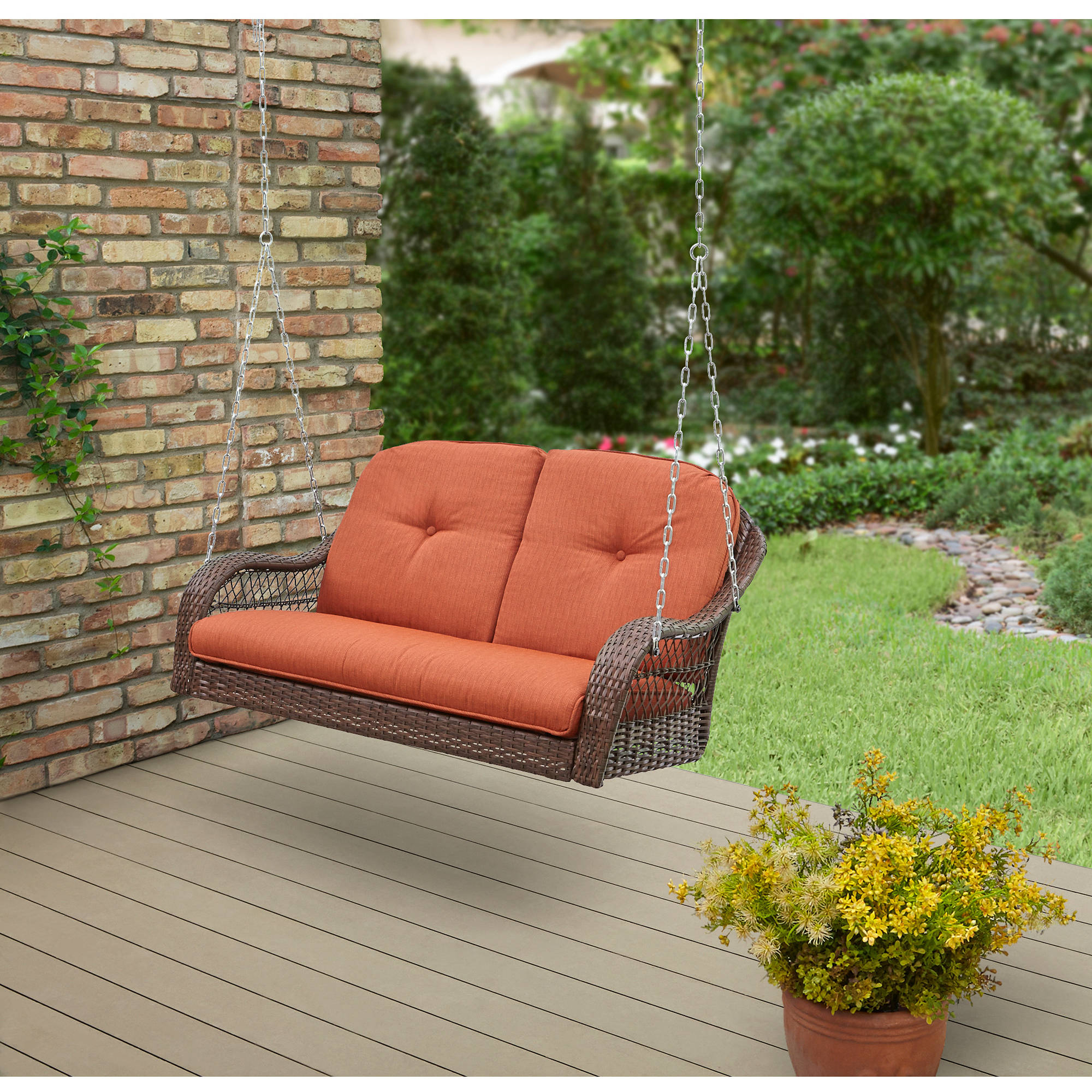 2020 2 Person Loveseat Chair Patio Porch Swings With Rocker Intended For Better Homes & Gardens Azalea Ridge 2 Person Outdoor Swing, Vermillion – Walmart (Gallery 23 of 25)