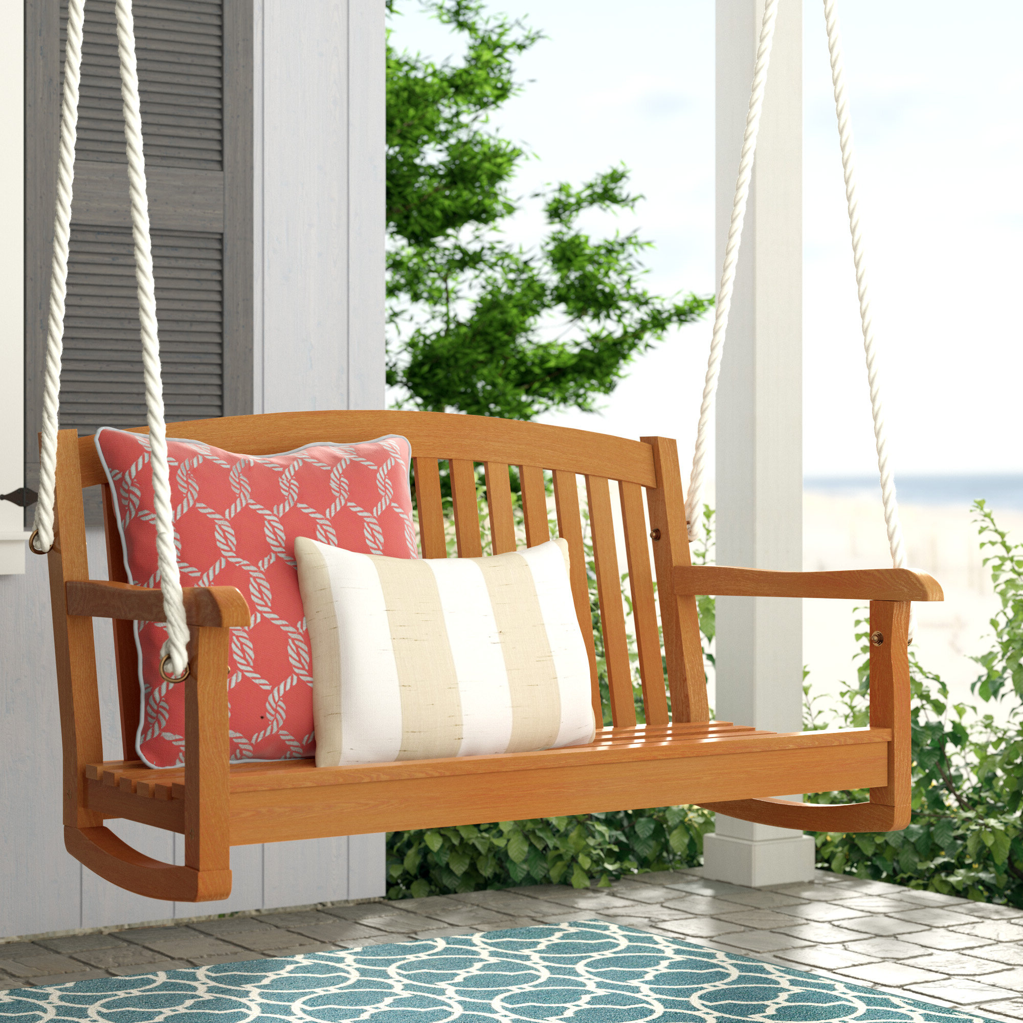2020 Beachcrest Home Portland Teak Porch Swing Pertaining To Bristol Porch Swings (View 1 of 25)