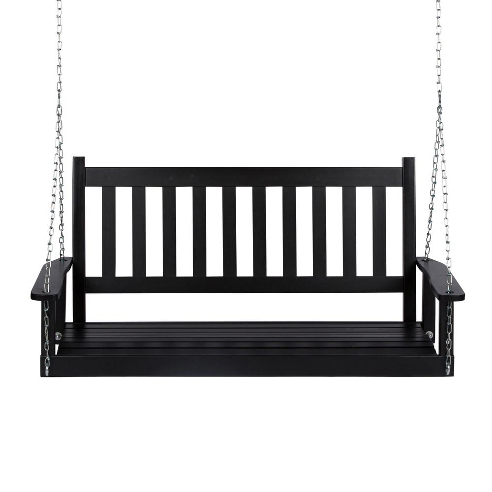2020 Casual thames Black Wood Porch Swings Within Shine Company 25.5 In (View 4 of 25)