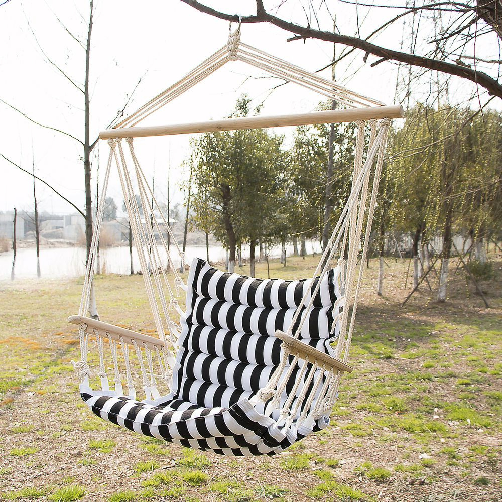 2020 Cotton Porch Swings Intended For Outdoor Hanging Rope Chair Deluxe Porch Swing Yard Hammock (View 15 of 25)