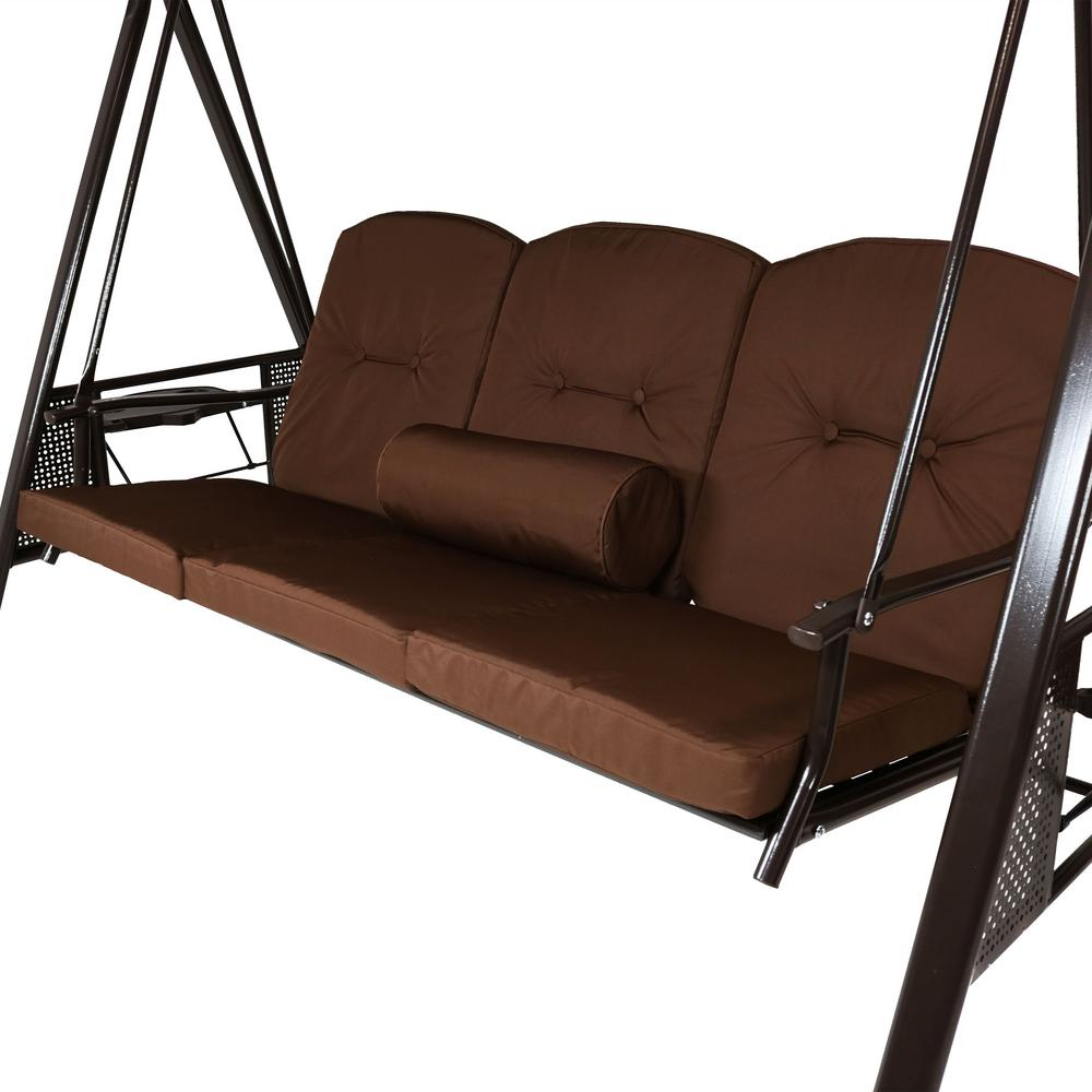 3 Person Brown Steel Outdoor Swings In Most Recent Cushions And Pillow Included Brown Durable Steel Metal Frame (Gallery 17 of 25)