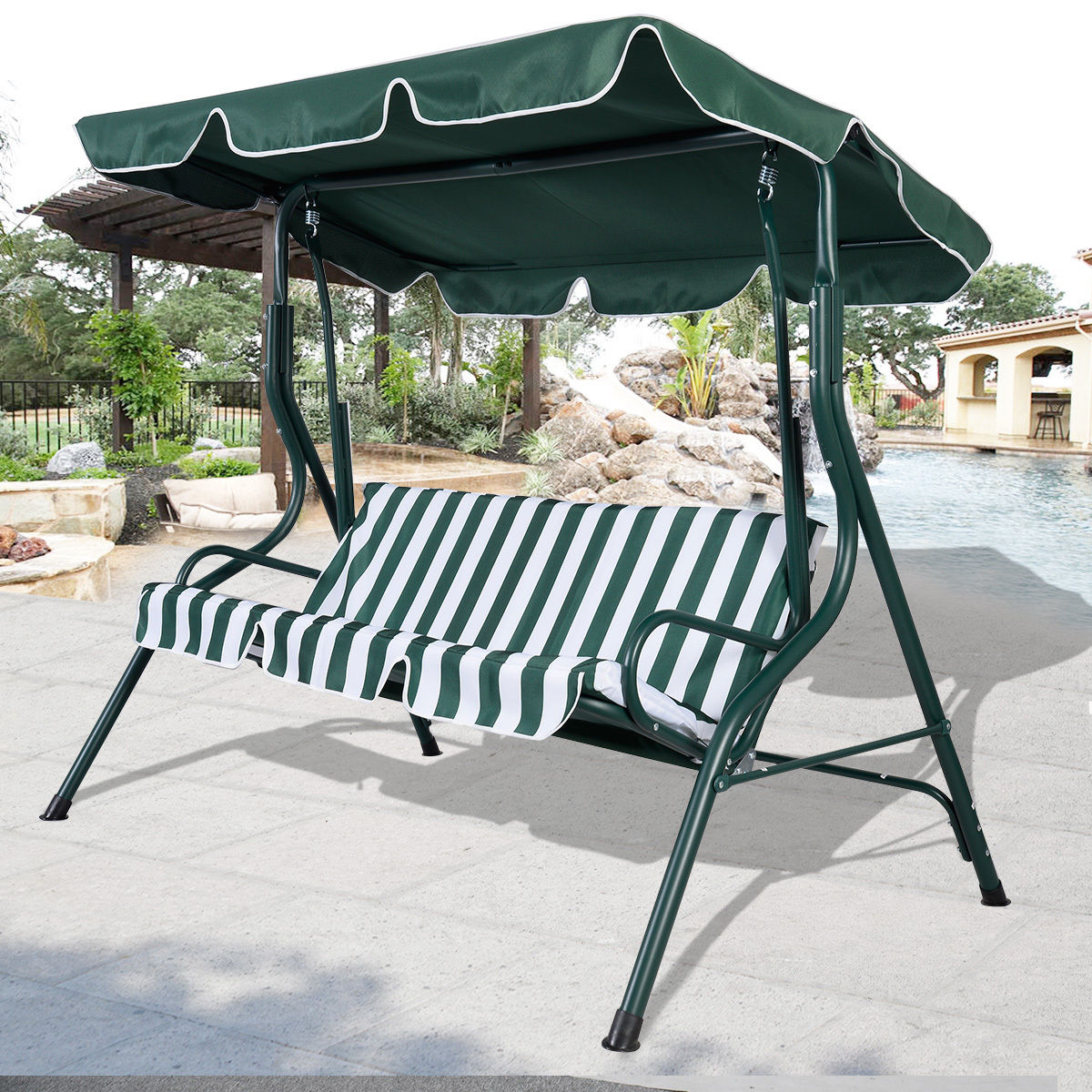 3 Person Brown Steel Outdoor Swings Intended For 2019 Swing Chair Brown 3 Person Patio Canopy Swing Sling Seating (Gallery 23 of 25)