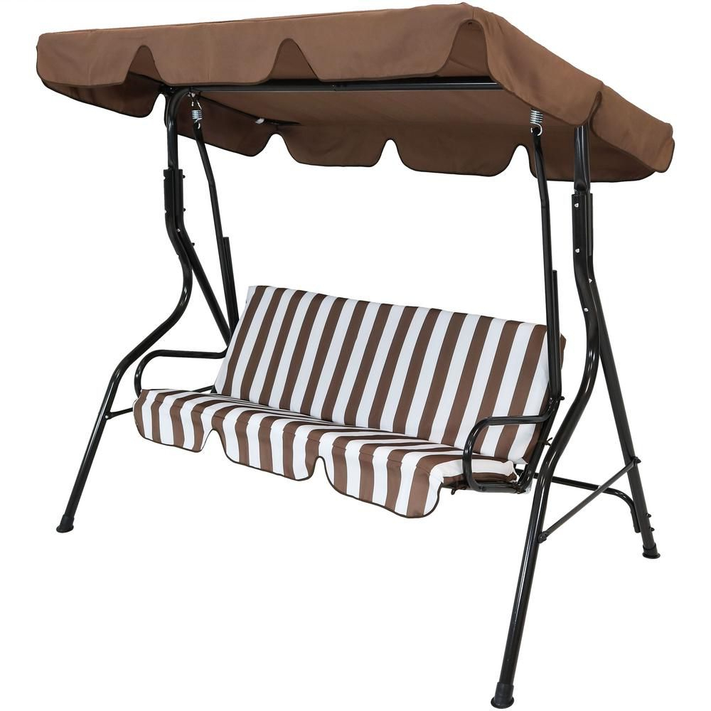 3 Person Brown Steel Outdoor Swings Pertaining To Widely Used Sunnydaze Decor 3 Person Black Steel Porch Swing With Brown (View 3 of 25)