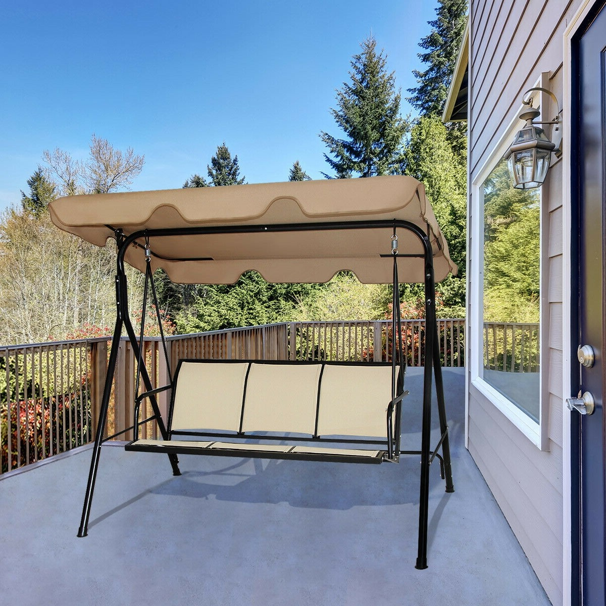 3 Person Brown Steel Outdoor Swings Regarding Favorite Outdoor Patio 3 Person Porch Swing Bench Chair With Canopy (View 13 of 25)