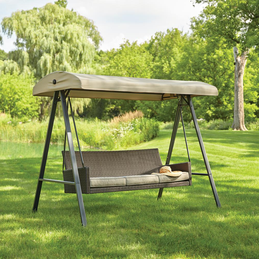 3 Person Light Teak Oil Wood Outdoor Swings Inside Famous Hampton Bay Plaistow 3 Person Wicker Outdoor Swing With Canopy (View 8 of 25)