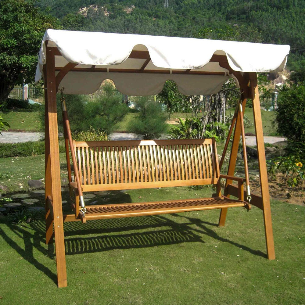 3 Person Light Teak Oil Wood Outdoor Swings With Regard To Best And Newest International Caravan Royal Tahiti 3 Seater Garden Swing With Canopy (Gallery 4 of 25)